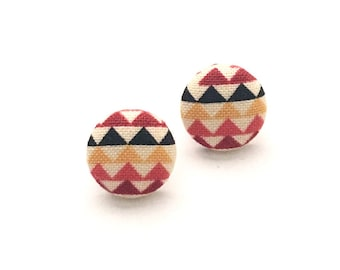 Fabric Button Earrings, Stud Earrings, Tribal Fabric, Southwestern, Arrow Earrings, Button Jewelry, Accessory
