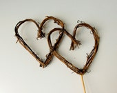 Twig Heart Wedding Cake Topper, Grapevine Hearts on Pick, Simple and Pretty