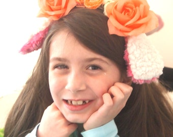 Peach Lamb Floral Crown Cosplay Easter Childs Adults