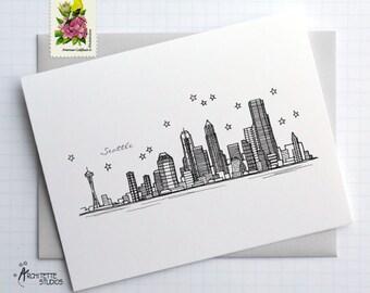Seattle, Washington - United States - City Skyline Series - Folded Cards (6)