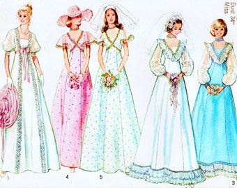 """Vintage 1970s Simplicity 6399 Misses Lined Brides' and Bridesmaids' Dress Sewing Pattern Size 12, Bust 34"""""""