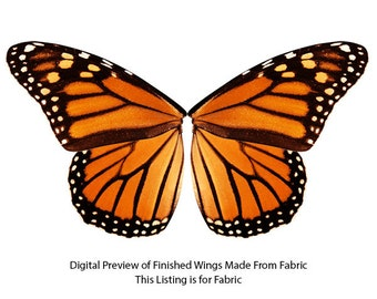 Small Scale Orange Monarch Butterfly Wings Fabric for making Children's Costume Fairy Wings, Butterfly Costume for Girls