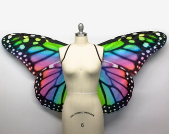 Oversized Rainbow Monarch Butterfly Costume Wings - Made to Order - Butterfly Halloween Costume