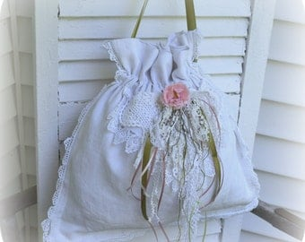 Linen Drawstring Bag with Layered Doily Laces, Wedding or Shower Gift Bag, made from Fine Vintage, Fully Lined, Unique, Heirloom Gift