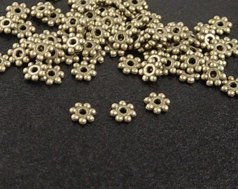 Bead Spacer 100 Antique Bronze Daisy Flower 4mm x 1mm NF (1028spa04z1)