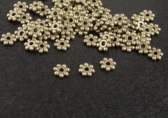 Bead Spacer 100 Antique Bronze Daisy Flower 4mm x 1mm NF (1028spa04z1)xz
