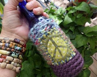 Hippie Gift, Hippie Festival, Peace Sign, Beer cozy, beer cooler, hippie crochet, beer gift, beer accessory, can cooler, bottle cooler, D20