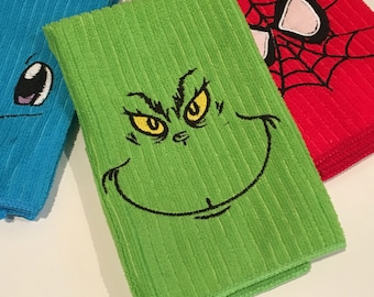 Grinch Towels Embroidered and Appliquéd