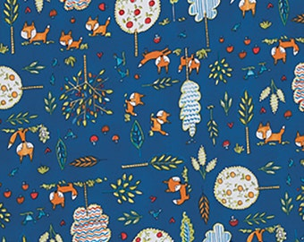 Dena Designs Fabric by the Yard - Fox Playground - Playground in Navy - Quilter's Cotton