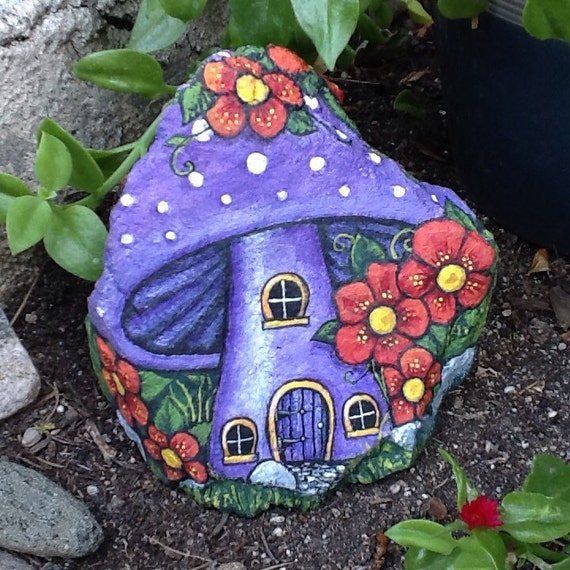 Painted Garden Stones: PURPLE MUSHROOM HOUSE Pretty Little Painted Rock Home For