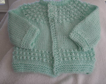 Knit Mint Green Baby Cardigan Size 6-9 Months