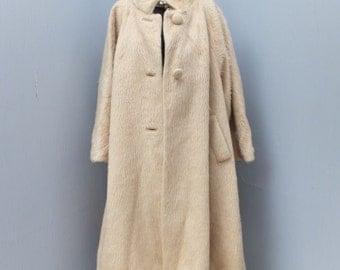 1950s/60s Lilli Ann Mohair Coat /  Paris/San Francisco / Light Brown or Ivory
