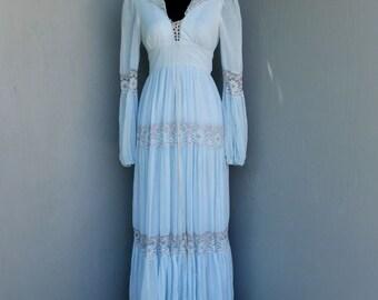 Original 1970s Gunne Sax Dress, Jessica, Teen Girls,  Light Blue Prairie Dress, Maxi Dress, Ruffle Feminine Dress, Small