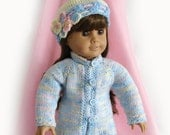 Doll Sweater and Hat for 18 Inch Doll Blue Pink Yellow Doll Sweater Jacket and Hat Hand Knit Pastel Doll Sweater American Girl Doll Sweater
