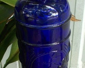 Cobalt Blue Glass Bottle with Embossed Grapes Pattern - Boho Chic