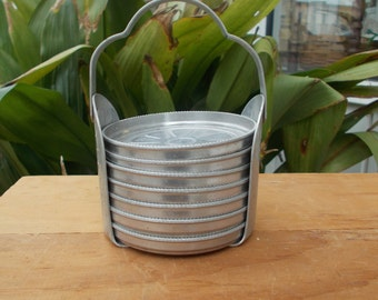 Vintage Daisy Coasters / Daisy Coaster Set / Stamped Aluminum / Aluminum Coaster Set