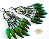 Jewel Beetle Elytra Wings Dangle Earrings Copper Gold Green Chandelier Pagan Priestess Boho Victorian Gothic GYPSY SPRITE by Spinning Castle