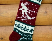 Hand Knit Christmas Stocking Downhill Skier - Handmade & Ready to Ship