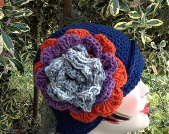 Crochet Cloche Ladies Blue Flower Hat