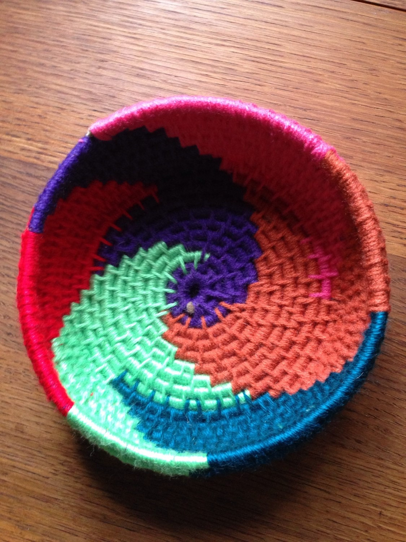 Handmade Jute Baskets : Handmade ooak jute coiled basket rainbow swills by