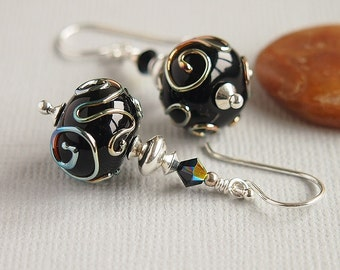 Black Scroll Earrings, Artisan Lampwork, Beaded Earrings, Sterling Silver - STELLAR