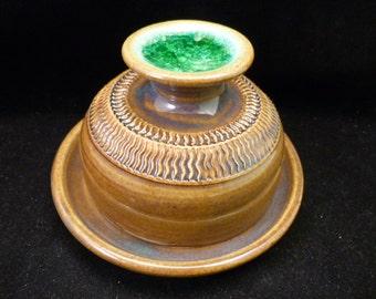 WheelWorksPottery - Butter Dish - Green Eileen