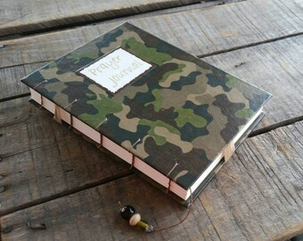 Camo Prayer Journal, Medium Coptic Stitch Blank Military Style Camouflage Prayer Journal, Hand Stitched Christian Prayer Book, Faith Journal