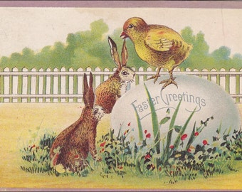 Happy Easter  Rabbits Chicks and Egg  Vintage Embossed  PostCard - Post Card