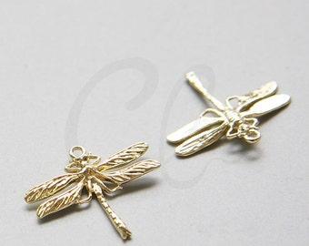 One Piece Premium Gold Plated Brass Base Charm - Dragonfly 25x23mm (10517Z-Q-316)