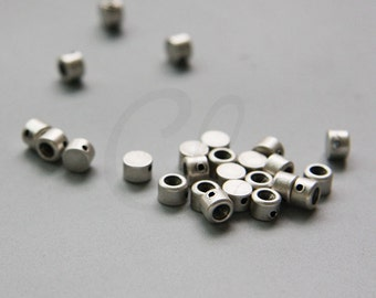 10pcs Oxidized Silver Plated Brass Base Flat Round Spacer with Rhinestone Setting - 5x3.5mm (1734C-M-295)
