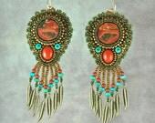 Earrings, bead embroidery, beaded, jasper, scenic, turquoise, southwestern