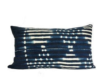 Vintage African Indigo Diamonds Mudcloth Lumbar Pillow