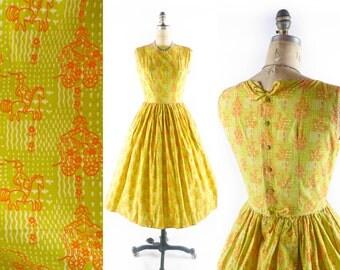 Vintage 50s Dress // 1950s Dress // Novelty Dress // Yellow Dress // Lanz Dress // 50s Novelty Dress - sz S - 26 Inch Waist