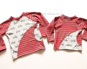 Motorcycle Colorblocked Tee - Motorcycles and Stripes - Sizes 18 Months and 3 - Handmade by The Kisses Co. - Ready to Ship