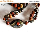 On Sale Lampwork Necklace with Painted Jasper, Gemstone Jewelry, Artisan Beads, Designer Multi-strand Necklace