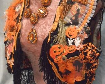 VEST Halloween Fringe Cute Costume Boho Collage Spooky - Halloween Vest