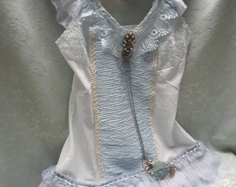 MidWinter Sale 20% Off TUNIC Top Cami Fairylike Romantic Altered Clothing Boho Baby Blues Lacy - Tunic Top