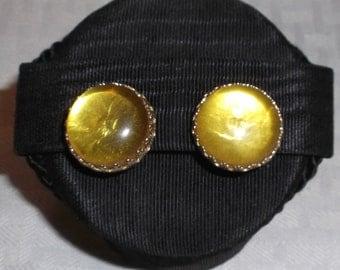 50s 60s Vintage Lemon Foil Backed Button Earrings Clip On Style Japan