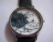 Womens Watch, Leather Wrist Watch, Navy Blue Watch, Watch for Women, Blue Nigella in Watch