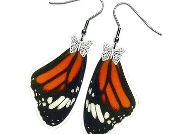 Real Butterfly Wing Earrings (Danaus Genutia - Monarch Forewing - E069)