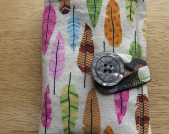 Tea Wallet in Pink, Green, Orange, Beige, and Brown Feathers on Cream, Tea Bag Holder