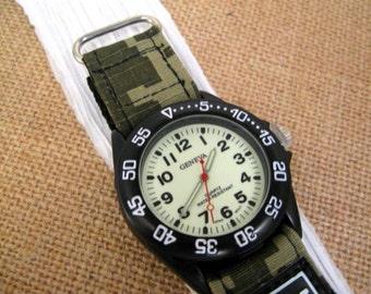 Camouflage Design Velcro Watch