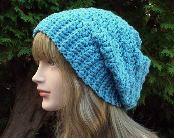 Sky Blue Slouchy Crochet Hat, Womens Slouch Beanie, Oversized Slouchy Beanie, Chunky Hat, Slouchy Hat, Winter Hat, Slouch Hat, Gift for Her