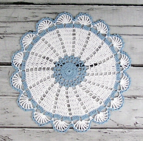 Lovely Crocheted White Blue Doily Table Topper - 10 1/2 inches