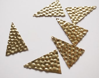 10 raw brass charm long triangle with bumps texture 46 x 32mm
