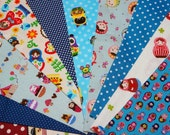 Value set fabric scrap  total of 10 pieces Matryoshka and matching dots  Bx3