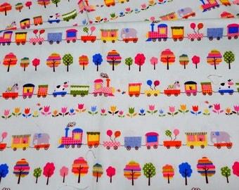 animal trains japanese fabric Half meter nc43