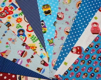 Value set fabric scrap  total of 10 pieces Matryoshka and matching dots