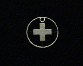 Switzerland - cut coin pendant - w National Cross - 1956