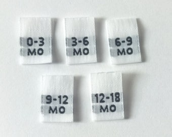 Mixed Multi Infant Woven Clothing Size Tags Labels 0-3mo, 3-6mo, 6-9mo, 9-12mo, 12-18mo Qty 50